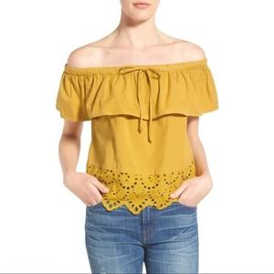 MADEWELL Eyelet Balcony Off-the-Shoulder Top M
